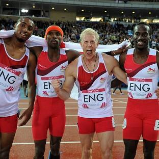 Matthew Hudson-Smith, Conrad Williams, Daniel Awde and Michael Bingham celebrate winning gold