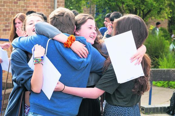 Students at the The Cherwell School, North Oxford, celebrate their results last week
