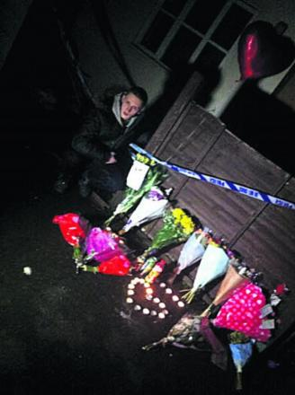 Marley Taylor Ward at the tributes to Connor Tremble in Fairacres Road after the stabbing