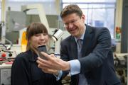 Minister for Universities, Science and Cities, Greg Clark with engineering student Paige McConville at Abingdon and Witney College
