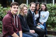 Left to right, Matthew Bonsaver (16), Ellie Cook (17), Head Mr. James, Toni-Ann Williams (17) and Marcia Davies (16) of Cherwell School.