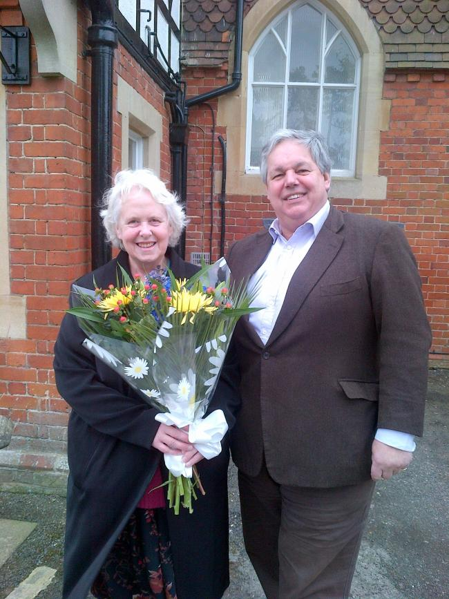 Sir Tony in Bicester with his final surgery constituent Linda Maxwell