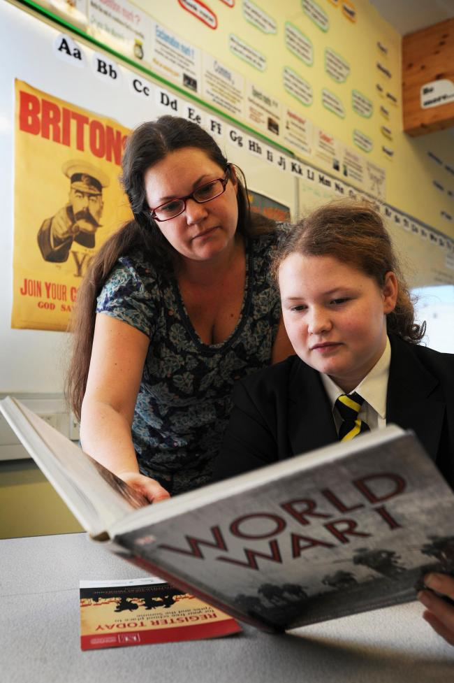 Gosford Hill School pupil Martha Dodson, 13, with English teacher Kathryn Cooper. Picture: Jon Lewis
