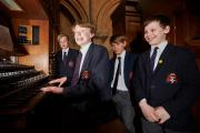 Adam Norris, 12, Michael Fitzgibbon, 13, George Nicholls, 12, and Nicholas Platt, 11, are performing in a concert at Christ Church Cathedral School