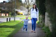 Laura Fathers with her son Archie, four, who faces a 40-minute walk to school