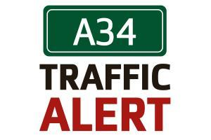 Multi-vehicle collision causing build-up of traffic on A34