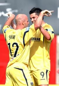 Paul Shaw celebrates with Rob Duffy