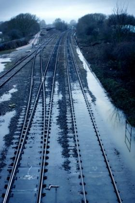 Water on the tracks at Redbridge in January 2008