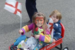 Alife, 3 and Finnley, 1 McKenna enjoy Wallingford St. Georges Day celebrations. Picture by Denis Kennedy.