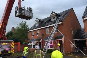 Young family escape house after lightning strike causes blaze