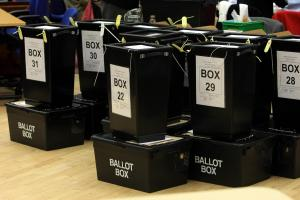 Ballot boxes are lined up at Redditch Town Hall, as counting begins in Labour candidate Jacqui Smith's constituency..