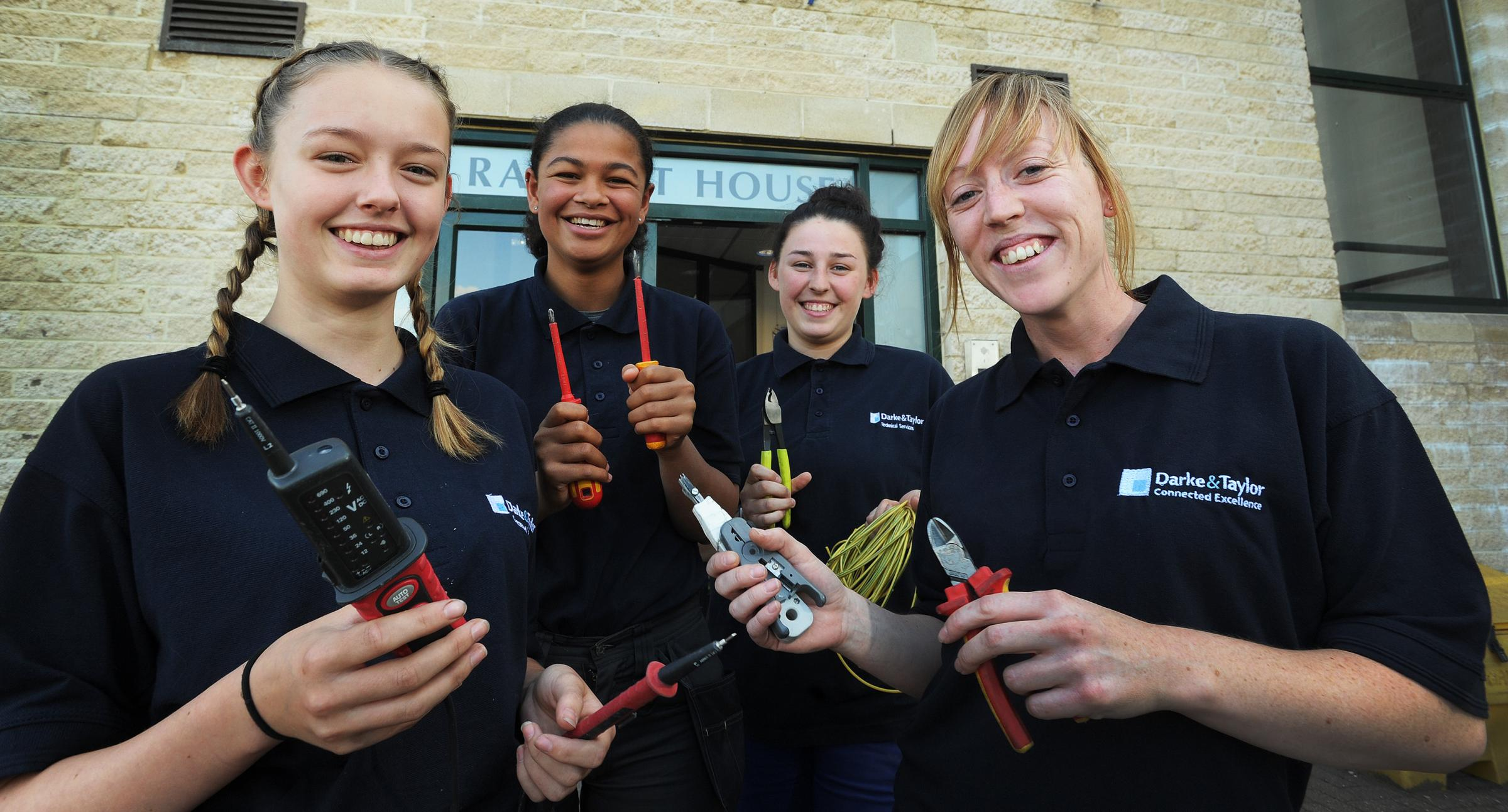 RECRUITS: L-R are apprentice electrical engineers Katie Harvey, Taya McCalmon and Megan Wheatley with apprentice data communications fire and security engineer Becky Francis   Picture: Jon Lewis