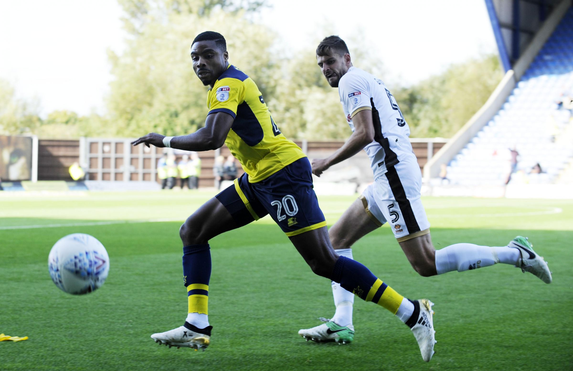 Jon Obika in action on Saturday before picking up a groin injury  Picture: David Fleming