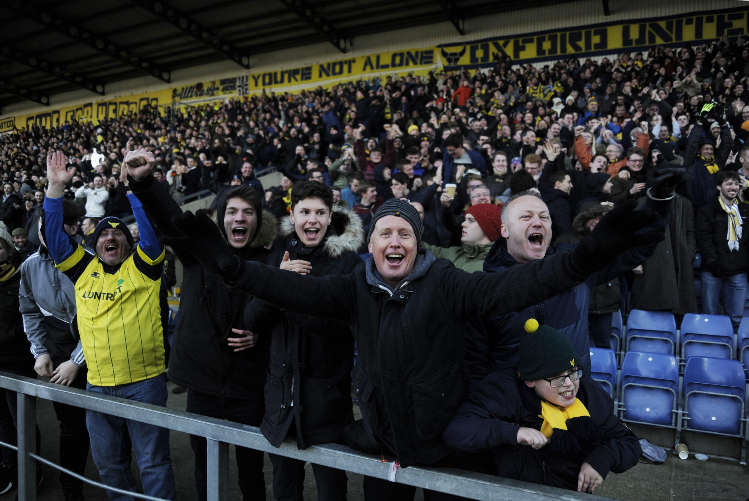 Oxford United fans celebrate the FA Cup win against Newcastle United in January  Picture: David Fleming