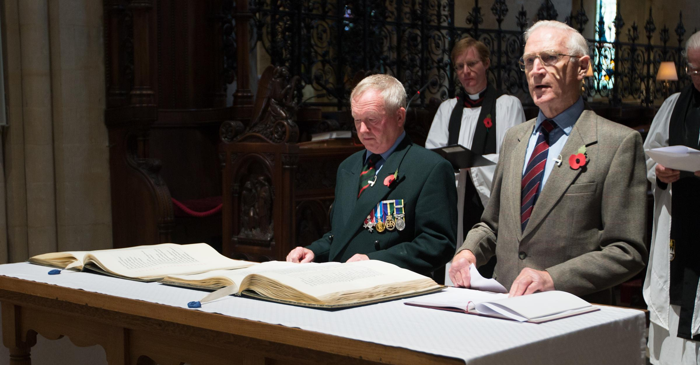 Terry Roper, left, chairman of the Oxford branch of the Royal Green Jackets Association with Ronald Barnes of Oxfordshire Yeomanry