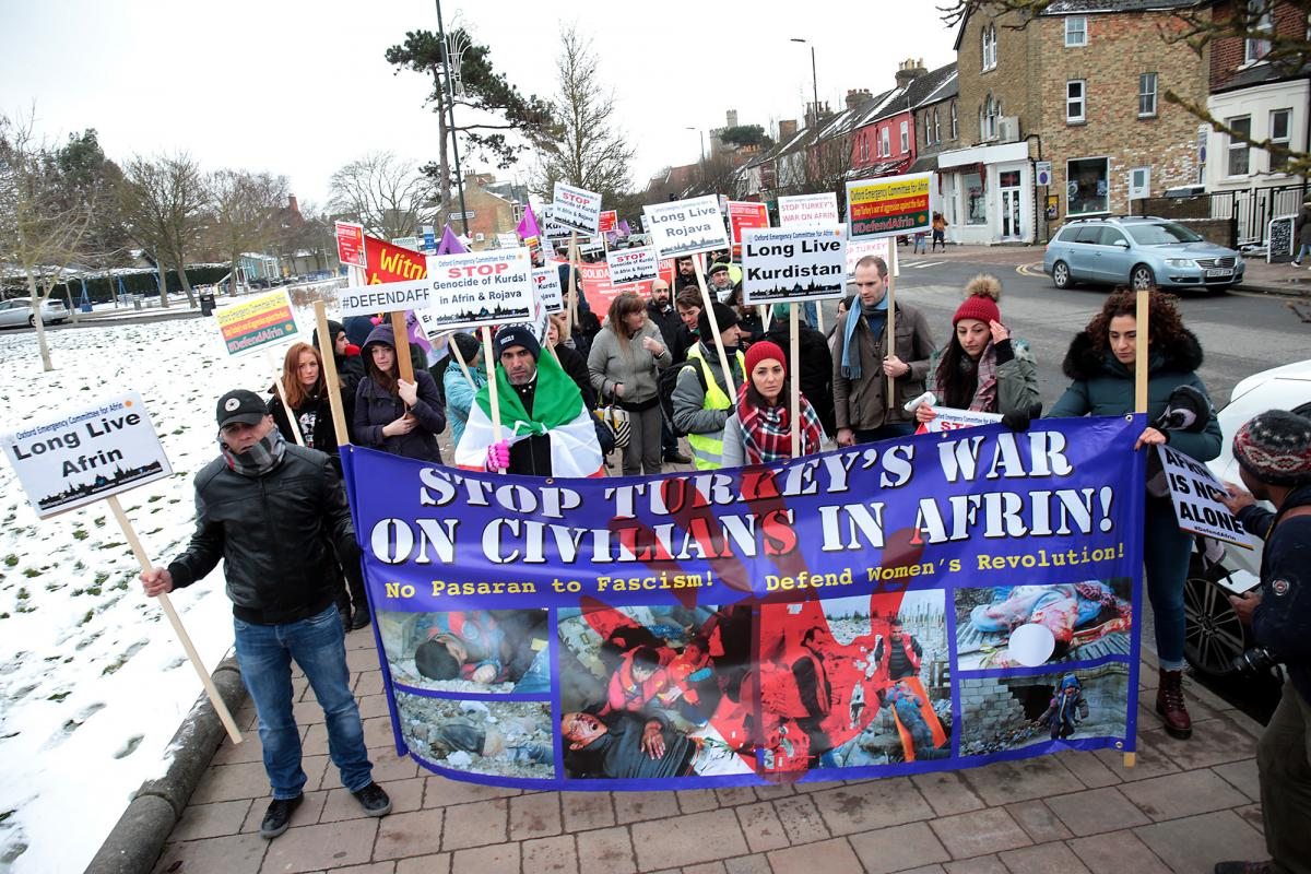Demonstrators on Cowley Road this afternoon