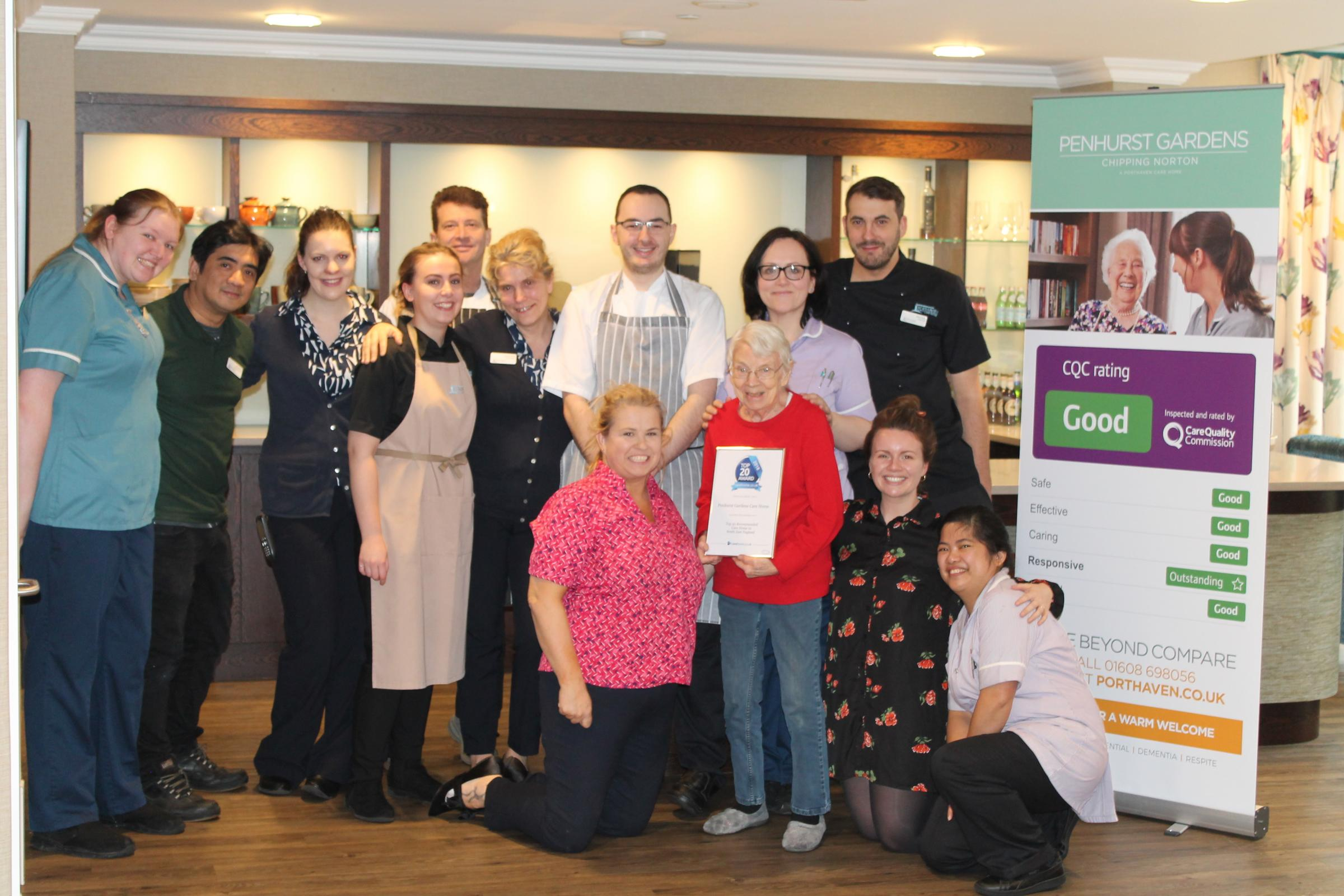 Penhurst Gardens' residents and staff awarded with their Top 20 award