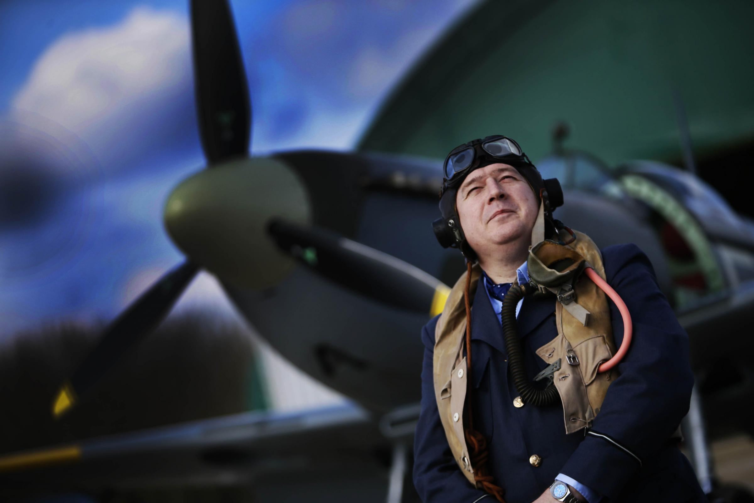 Historian Ian Meadows pictured with a Spitfire at Enstone Airfield.21.3.2018Picture by Ed Nix