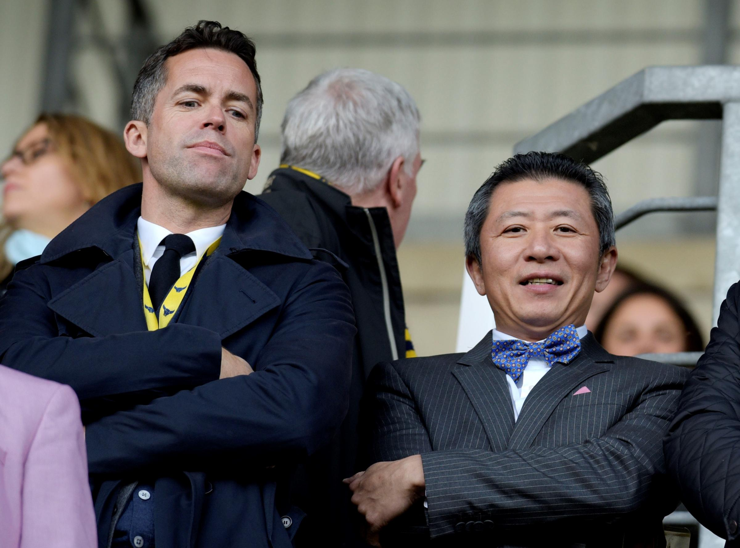 David Jones (left) with Sumrith Thanakarnjanasuth in the directors' box at the Kassam Stadium in October  Picture: David Fleming