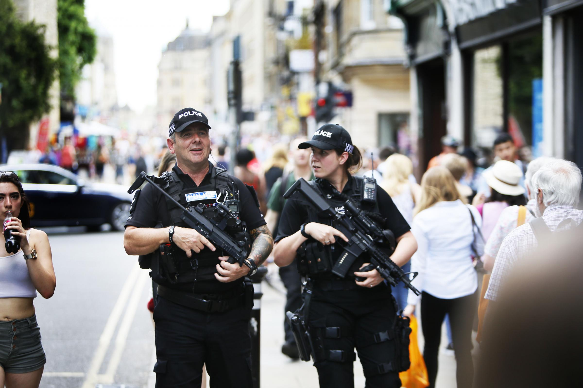 Armed police on the streets of Oxford in May 2017 following the Manchester Arena bombing. Picture: Ed Nix