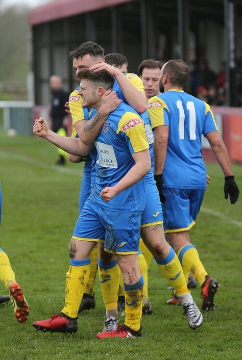 Sam Barder celebrates scoring Didcot Town's second goal against Barnstaple Picture: Roger Neal