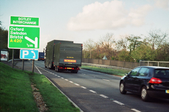 A previous nuclear warhead convoy on A34 near Botley in 2008