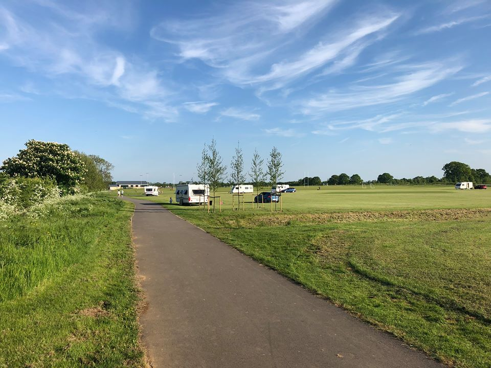 Caravans at the Kingsmere playing field in Bicester