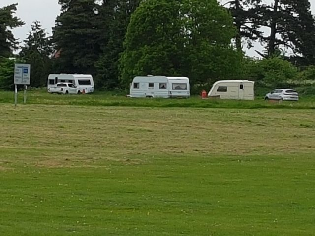 Travellers pitch up on village green with 'pony and dogs'