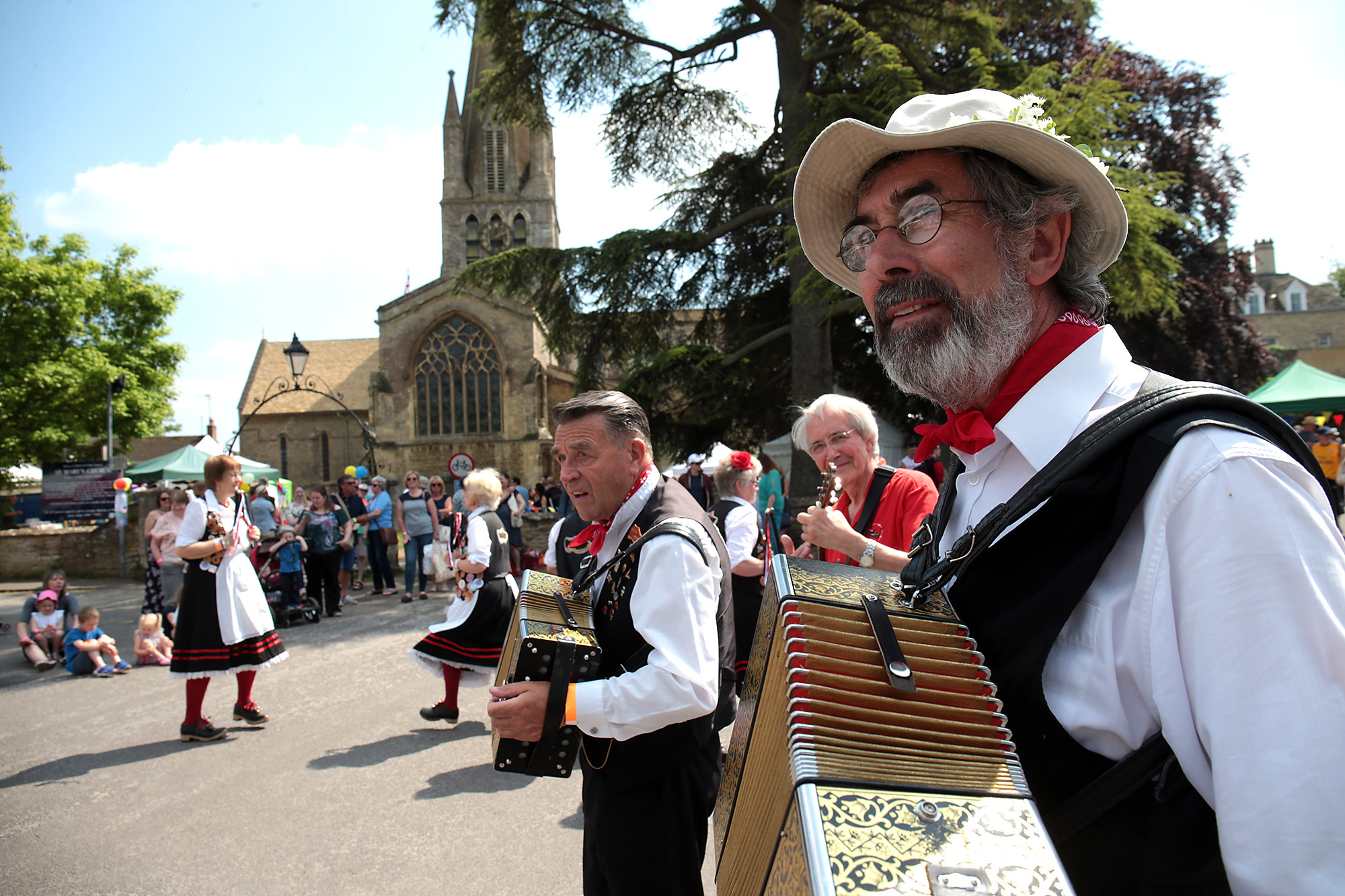 The Masons Apron Northwest Clog Morris dancers in action at The Witney Festival of Food and Drink on Saturday. Picture: Ric Mellis