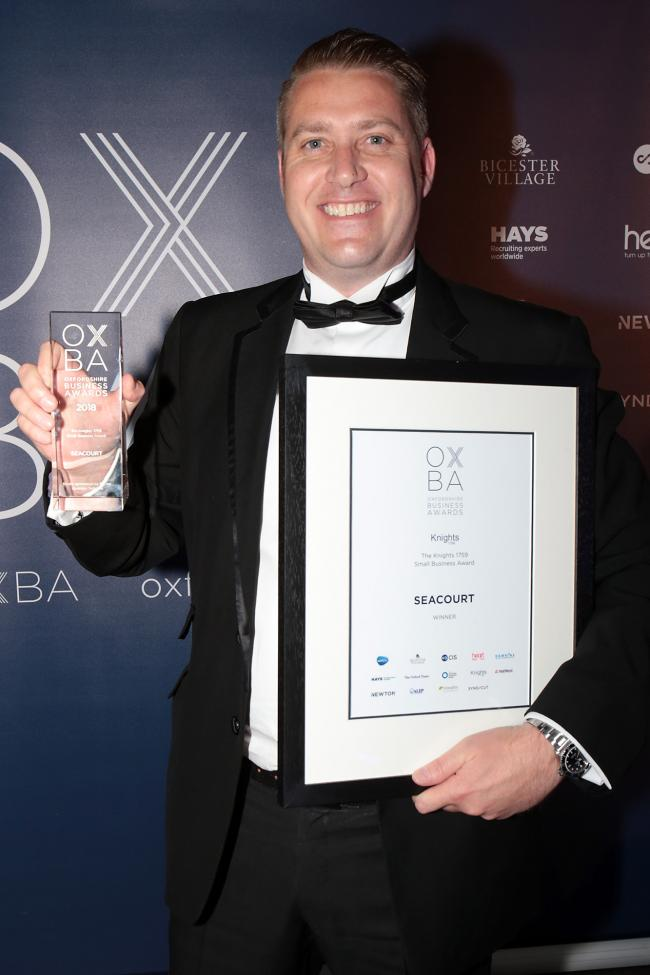 Gareth Dinnage of Seacourt, winner of the Small Business Award at the Oxfordshire Business Awards held at Oxford Brookes University.Picture: Ric Mellis.17/6/2018.