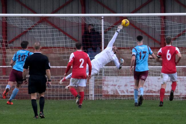 Leigh Bedwell cannot stop Mangotsfield from equalising in Didcot's 1-1 draw on SaturdayPicture: Ric Mellis