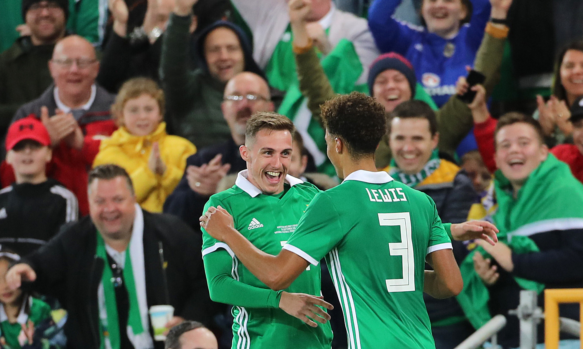 Gavin Whyte celebrates scoring for Northern Ireland on his debut in September  Picture: Liam McBurney/PA Wire
