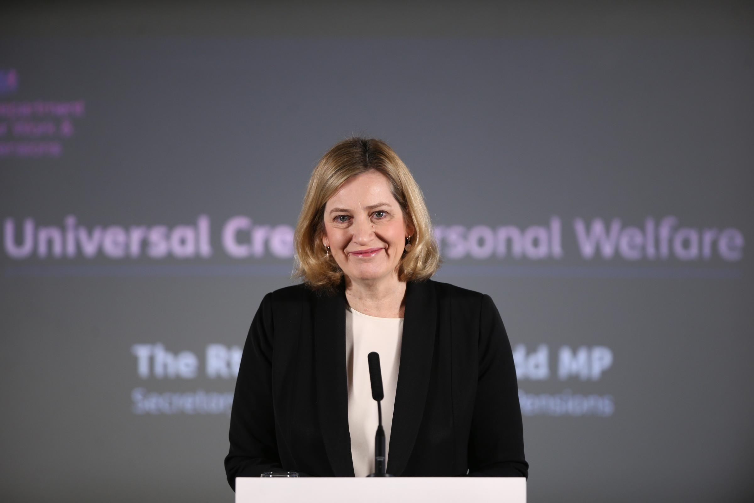 Work and Pensions Secretary Amber Rudd giving a speech at a Jobcentre in London