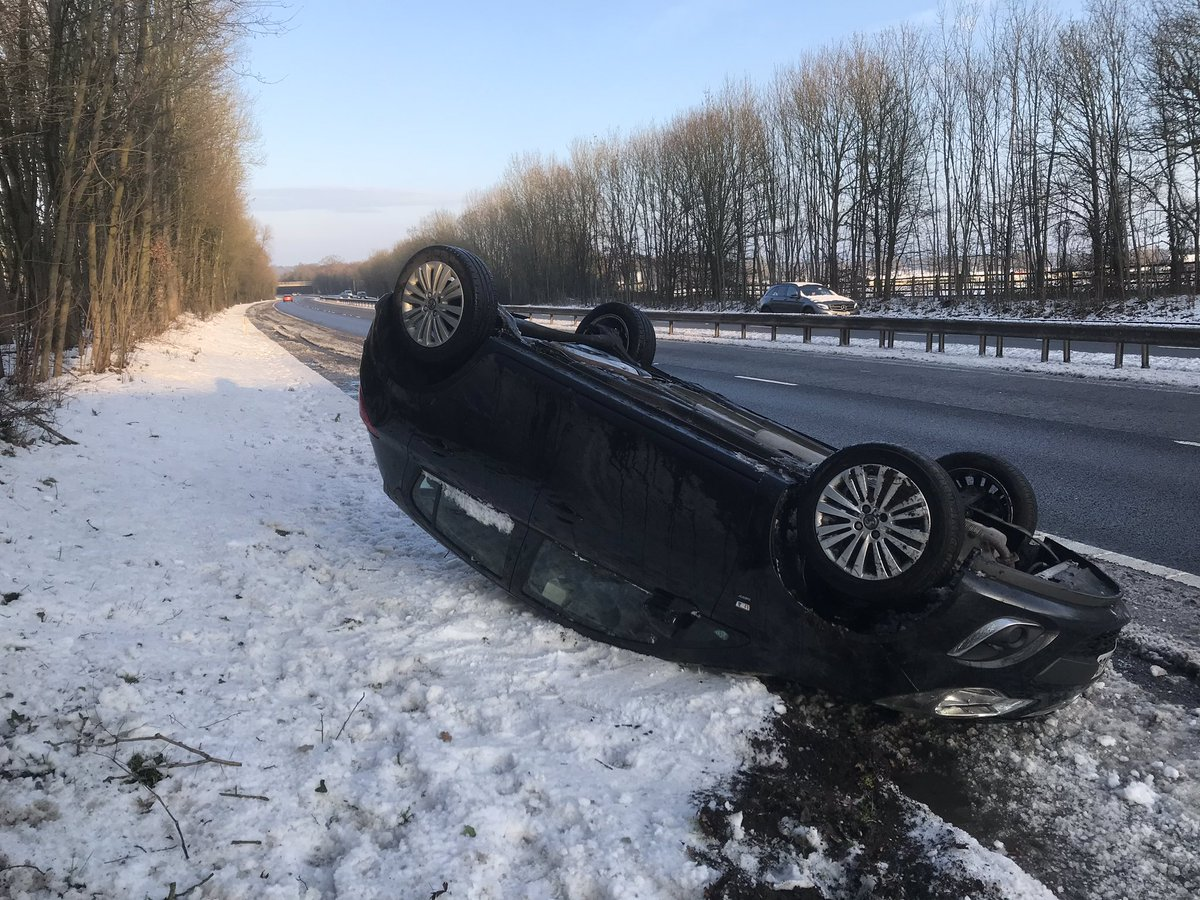 Police issued a warning over driving in the snow and ice with this picture of an overturned car Pic: Twitter/@tvprp