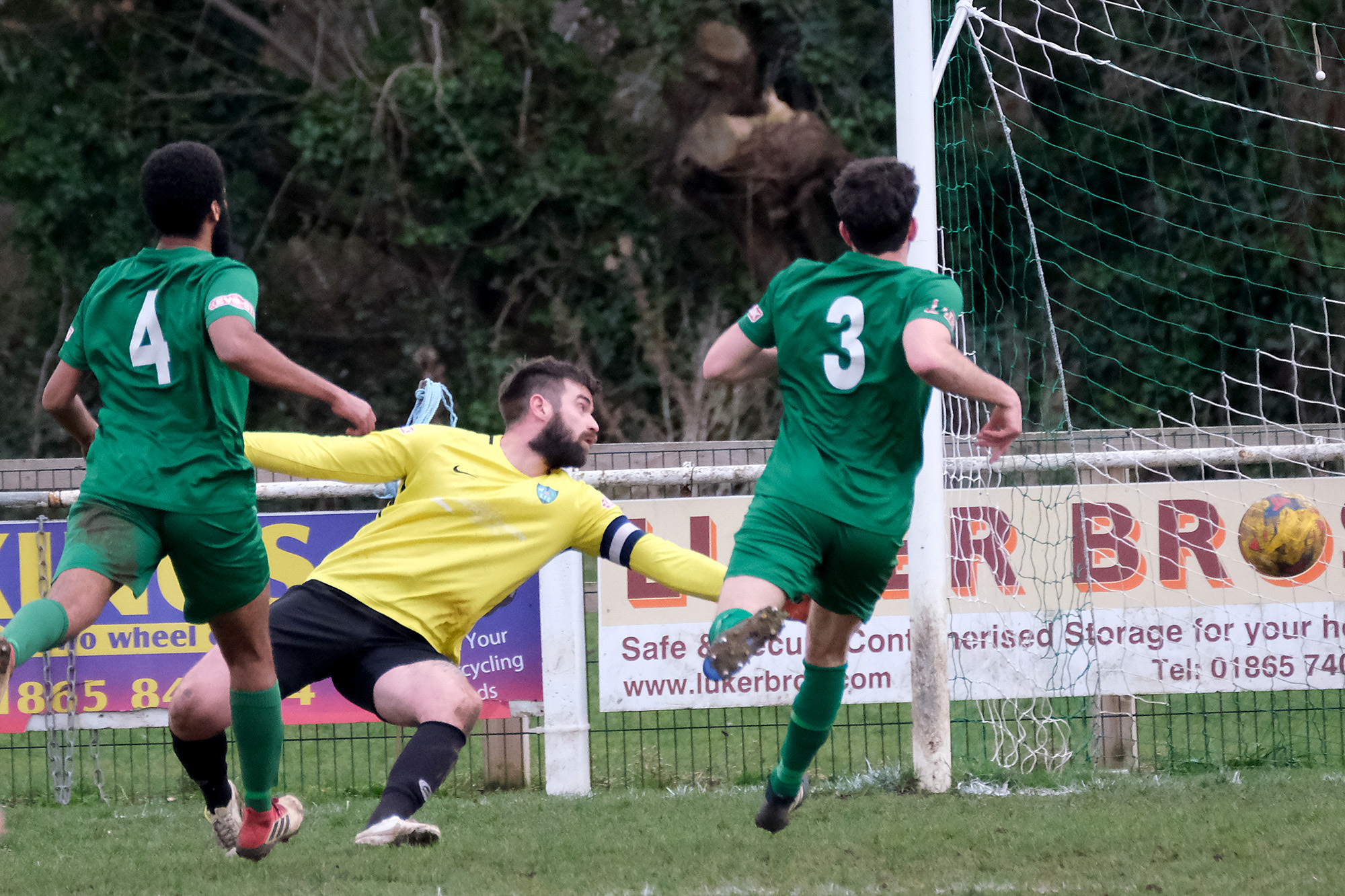 Kidlington goalkeeper Sam Warrell is beaten by George Washbourne's strike for Coleshill     Pictures: Ric Mellis