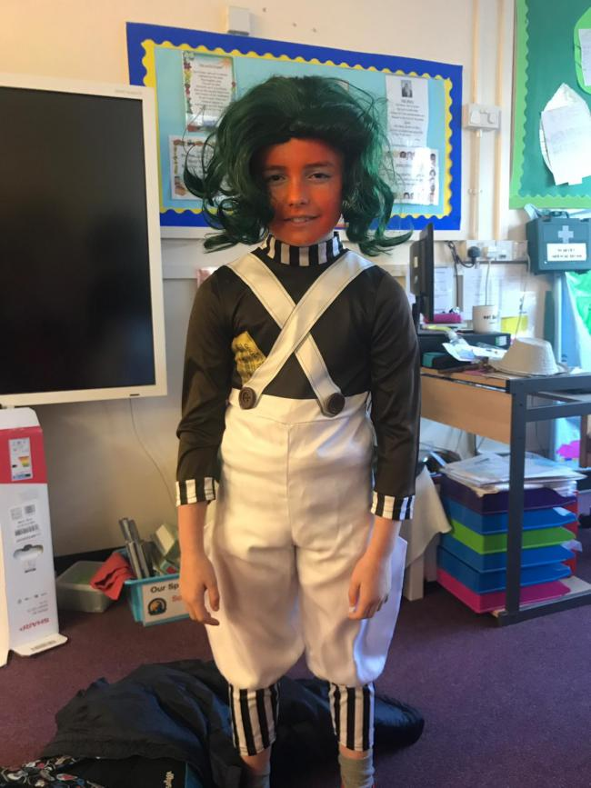Riley Davies as an oompa loompa  from Charlie and the Chocolate Factory