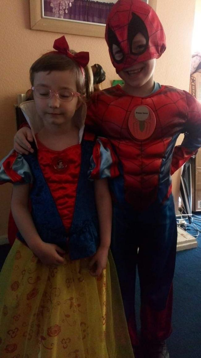 Brother and sister dressed up Caroline as snow White and David as spiderman for they book day in rosehill Oxford