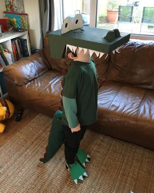 Ruben, aged 5 dressed as The Enormous Crocodile for World Book Day at Fritwell Primary School