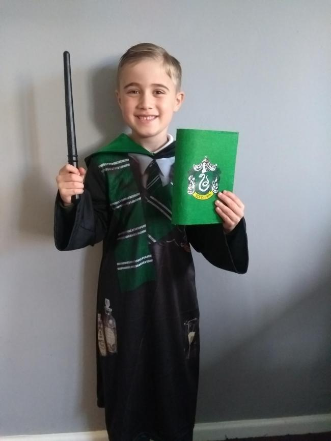 My son Alex Bowen dressed up as Draco Malfoy from Harry Potter