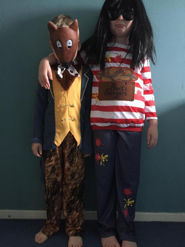 George Saunders 6 as fantastic mr fox and Riley Saunders 8 as ratbuger from burt's burgers.