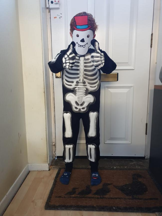 Oscar - dressed up as Funny Bones, from the book Funny Bones by Janet and Allan Ahlberg.