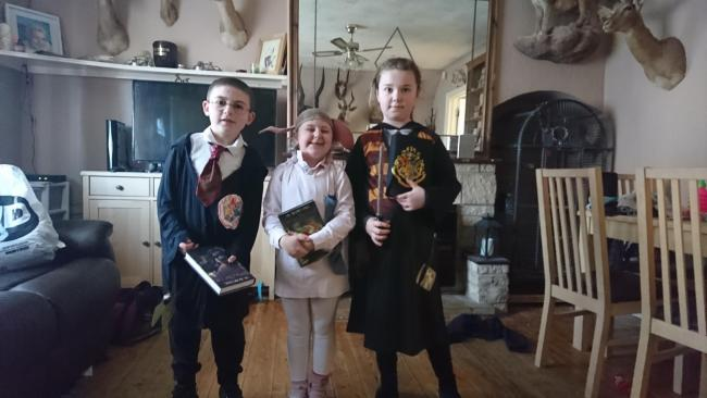 Lexie, Liam and kali kauble, - Reynolds dressed up for world book day as Harry Potter, hermione and dobby