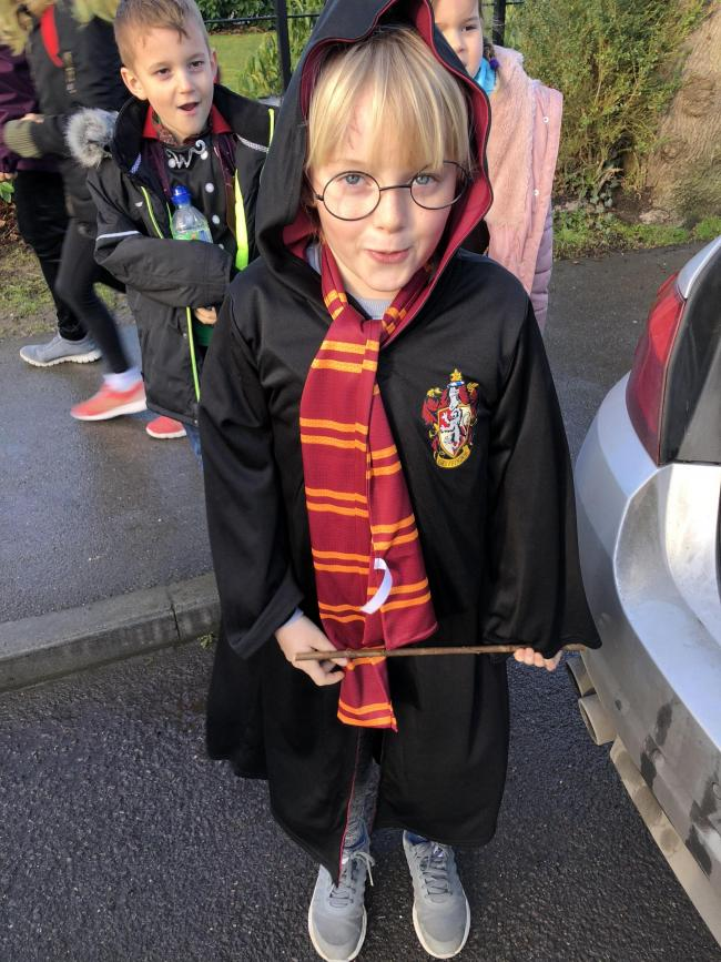 Maddie Criscuolo from Sutton courtenay attends chilton county primary school aged 8 dressed up as Harry Potter