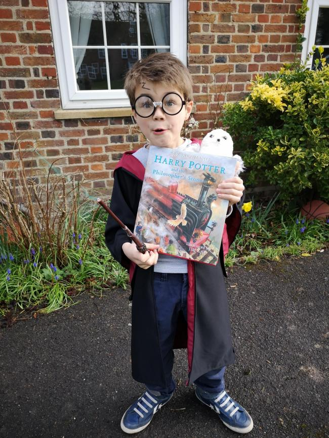 Archie, 6, as his favourite wizard. Harry Potter.