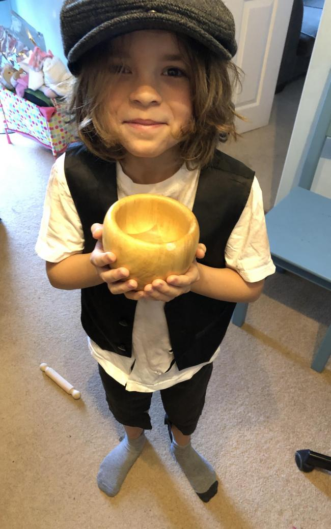 Freddie as Oliver Twist, St Peter's Primary School in Cassington