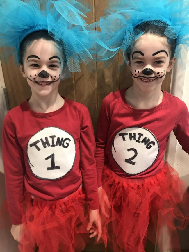 Twins..Isla and laila from st nicks Marston primary school as thing 1 and thing 2 from cat in the hat
