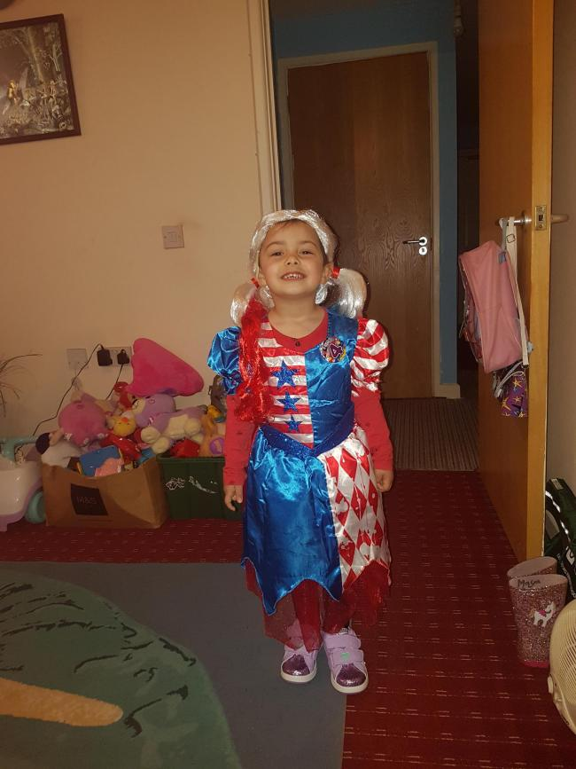 Maya Khanom dressed up as super princess it is also her 4th birthday 7/03/19
