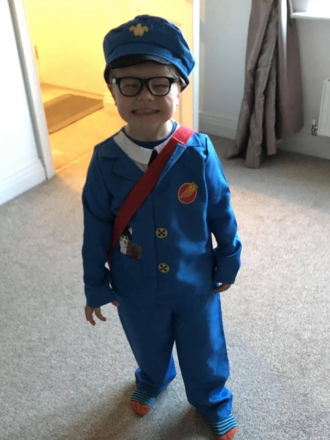 Postman pat on his first world book day at school. Lucas Gillett age 4
