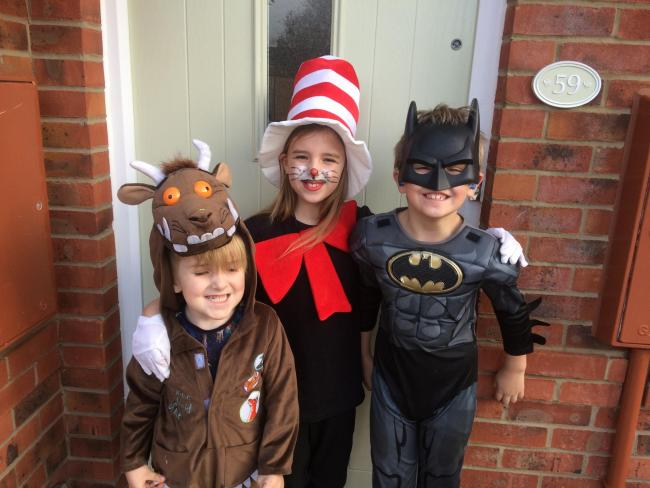 Taylor, Jacob , Freddie bowers dressed as cat in the hat,batman and the gruffalo