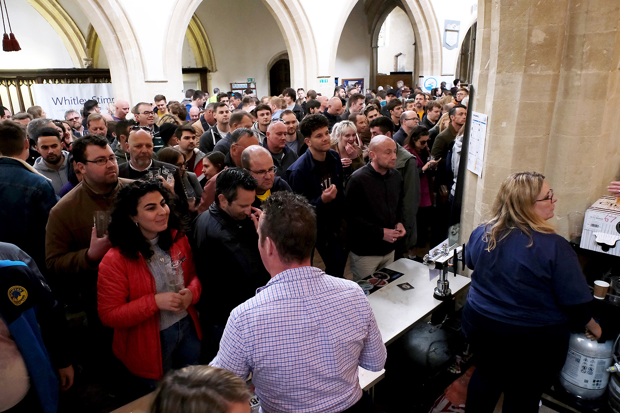 The queues to be served were very large but very cheerful at the Witney Beer Festival.